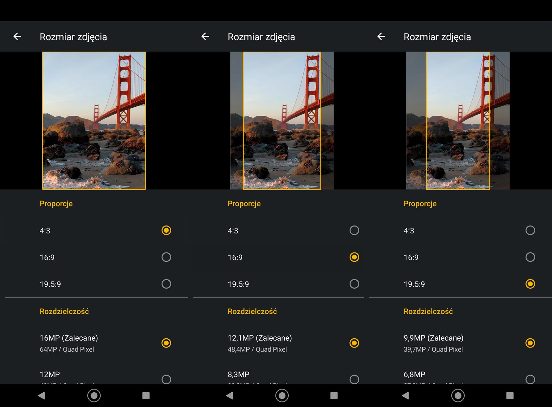 Ustawienia proporcji wopcjach aplikacji aparatu.