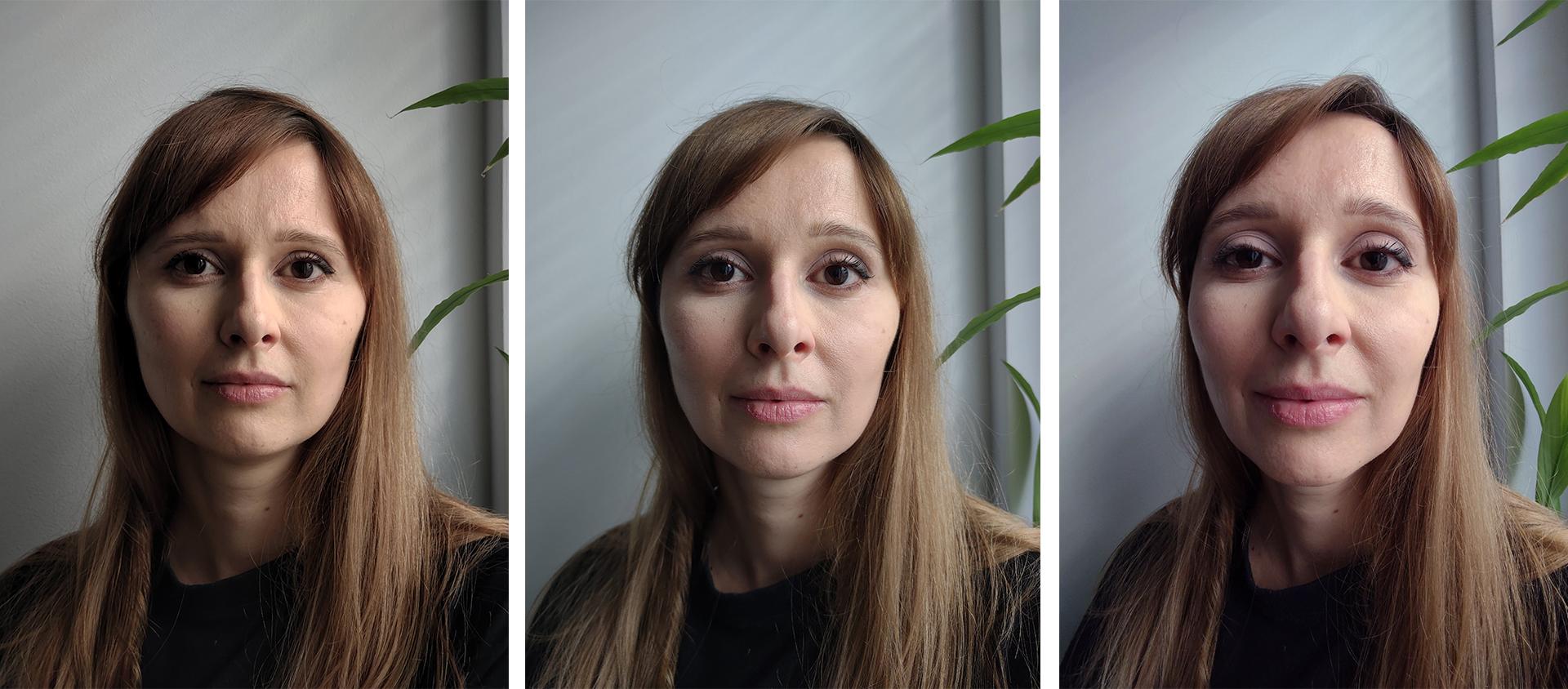 Trzy portrety kobiety naróżnych ogniskowych aparatu.