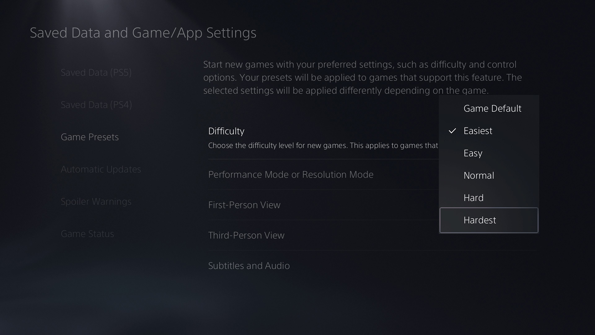 PlayStation 5 ustawienia gry